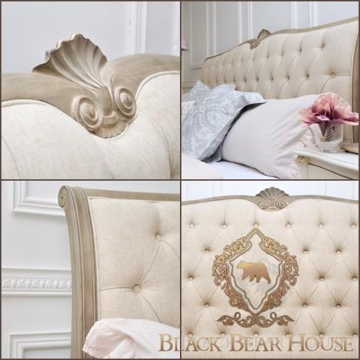 Łóżko francuskie pikowane black bear house.003