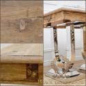 stól rozkładany drewniany na niklowanych nogach glamour black bear house