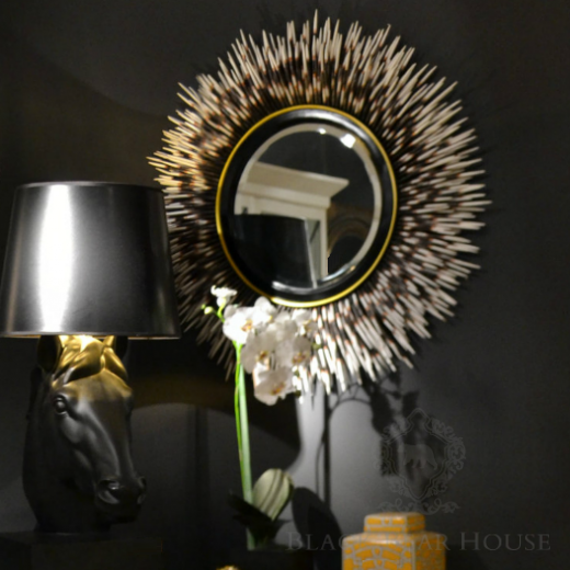 lustro okręgłe black bear house