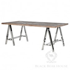 stół na aluminiowych kozłach black bear house