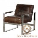 skórzany fotel na aluminiowych nogach black bear house