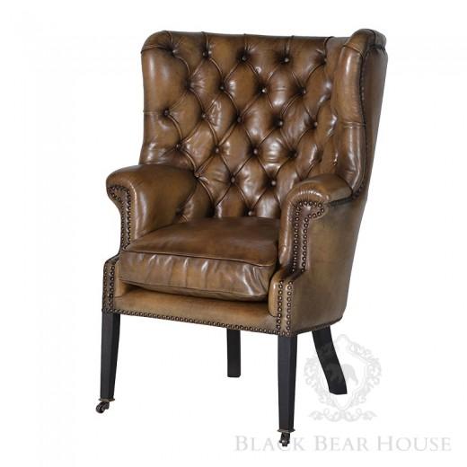 skórzany fotel pikowany black bear house