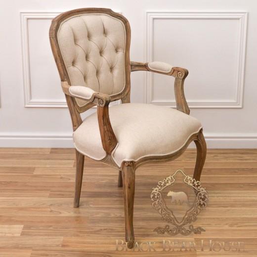 krzesło francuskie lniane pikowane black bear house.015