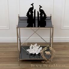 stolik z czarną szybą metalowy