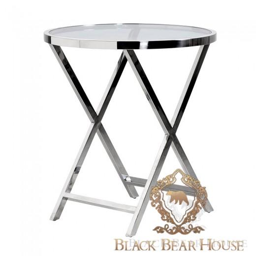 stolik z metalu ze szklanym blatem
