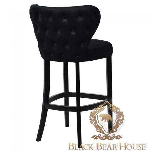czarne krzesło barowe pikowane