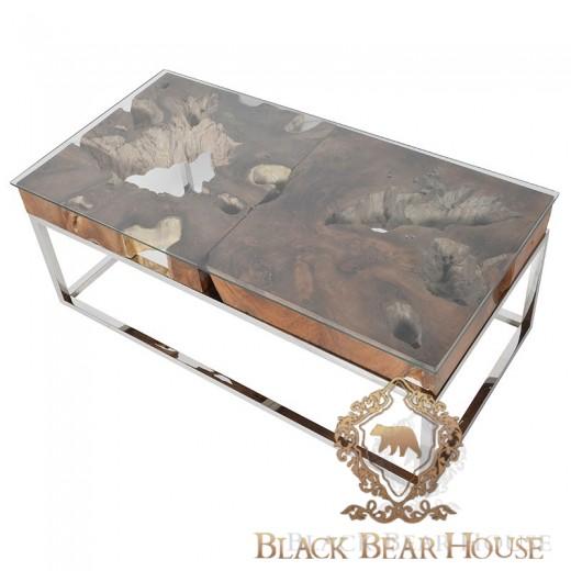 metalowy stolik z drewnym
