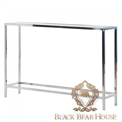 metalowa konsola ze szklanym blatem