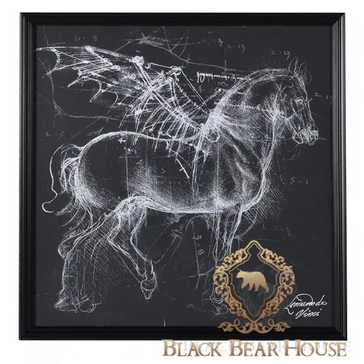 Szkic pegaza leonardo da vinci black bear house