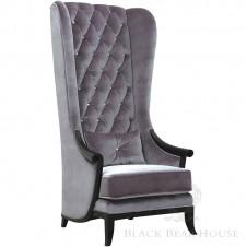 fotel tapicerowany aksamitem black bear house