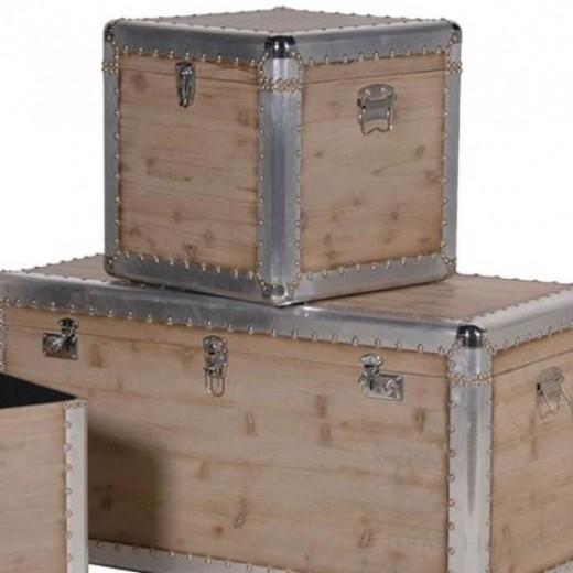 zestaw kufrów z drewna i aluminium