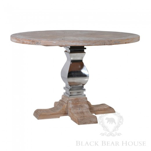 drewniany okrągły stół na aluminiowej nodze black bear house