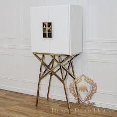 szafka biała na aluminowych nogach z masą perłową black bear house