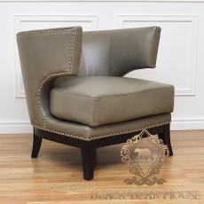 fotel skórzany szary w stylu nowojorskim