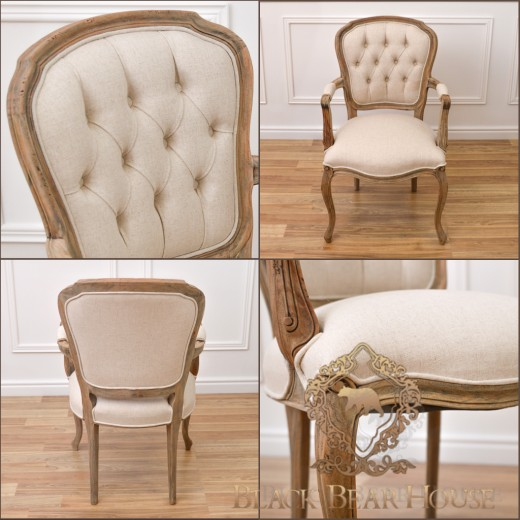 krzesło francuskie lniane pikowane black bear house