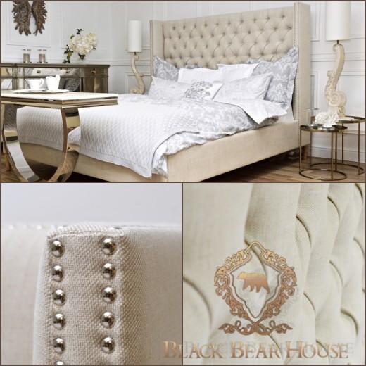 łóżko tapicerowane lnem black bear house