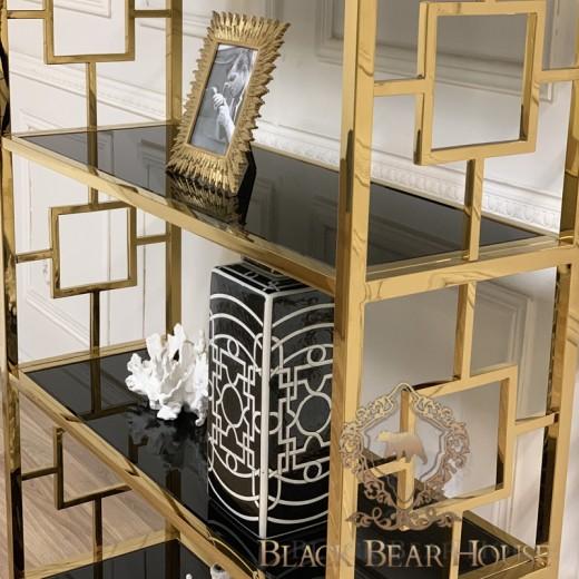 regał modern classic złoto i czern black bear house.001