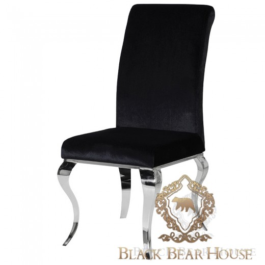 krzesło na srebrnych nogach glamour black bear house.001