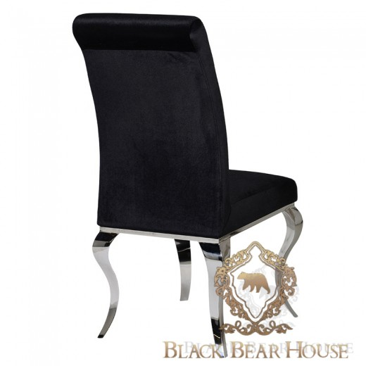 krzesło na srebrnych nogach glamour black bear house.002