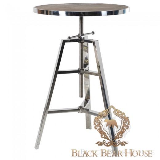 metalowy stolik z drewnem
