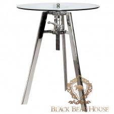 metalowy stolik ze szklanym blatem