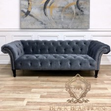 szara pikowana sofa chesterfield black bear house