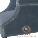 fotel błękitny w stylu hampton black bear house