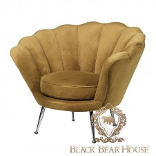 welurowy Fotel muszla w stylu modern classic black bear house