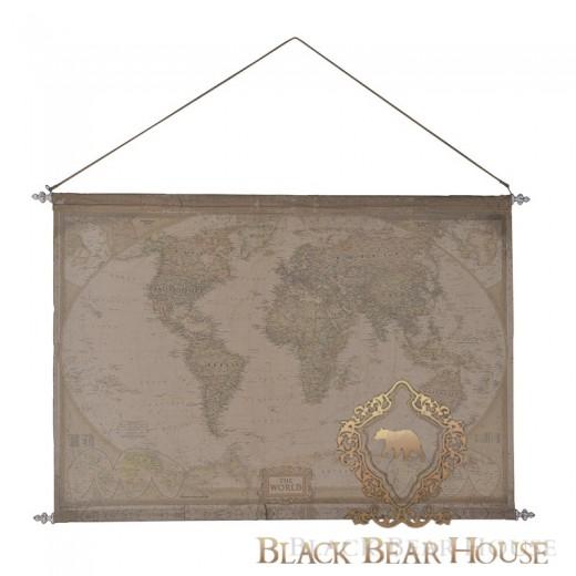mapa świata black bear house dekoracja