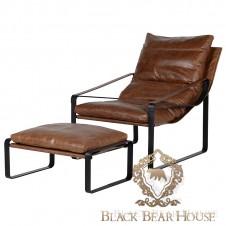 fotel vintage brązowy skórzany black bear house