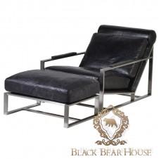 skórzany fotel vintage czarny black bear house