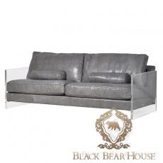 sofa skórzana w szarości