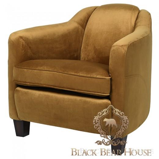 musztardowy fotel welurowy black bear house