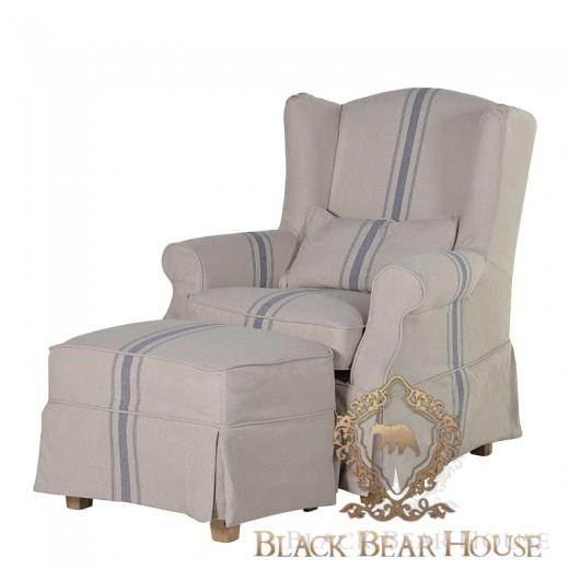 fotel w pasy w stylu hamptons black bear house
