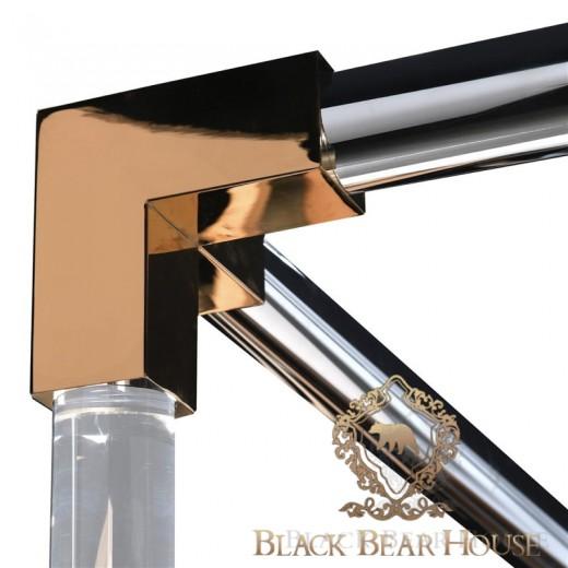 amerykańskie łóżko glamourw złotej ramie black bear house