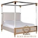 amerykańskie łóżko w złotej ramie black bear house