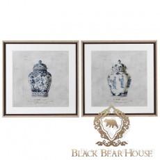 obraz chinoiserie niebiesko białe wazy black bear house.009