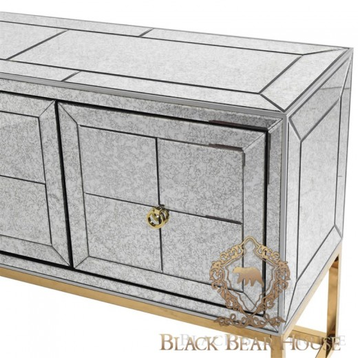 złota lustrzana konsola black bear house 1