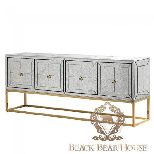 złota lustrzana konsola black bear house