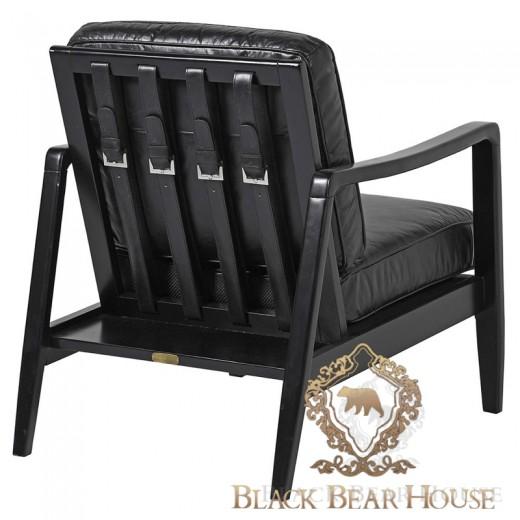 skórzany czarny fotel modern classic new york black bear house.055