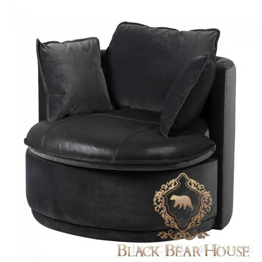 czarny skórzany fotel modern classic new york black bear house.056